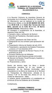 Convocatoria para acciones de la Terminal de Transportes de Villavicencio